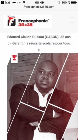 Edouard Claude OUSSOU, lauréat du prix de la Francophonie 3535