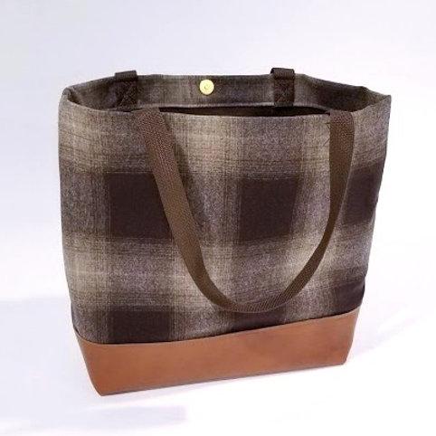 Copenhagen Tote - Plaid Wool / Leather