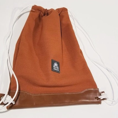 Drawstring Backpack / Tuscan + Leather