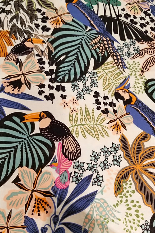 Face Mask /Tropical Birds and Plants - Cream