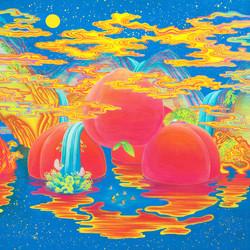[작품4]Peach paradise, 90×90cm, korean traditional silk painting, 2015.jpg