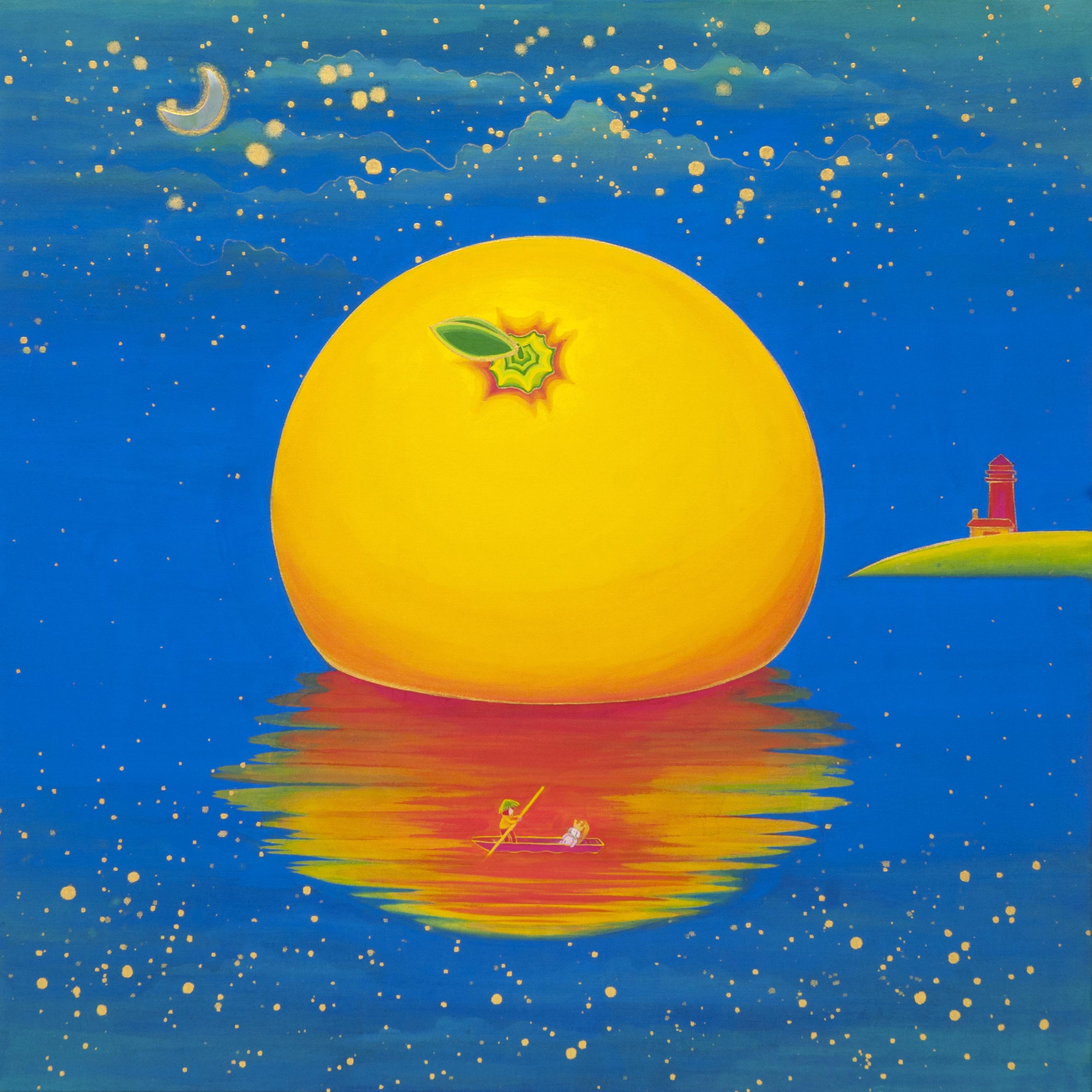 [작품1]Orange_Paradise-island,_50x50cm,_Korean_traditional_painting_with_Nacre(mot