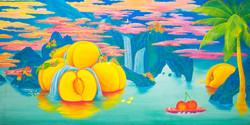 [작품13]Mint_Paradise,_100x200cm,_korean_traditional_painting_with_Nacre(mother-of