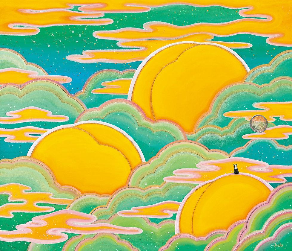 피치파라다이스-민트, 53.0x45.4cm, 비단에 채색, 자개, 202