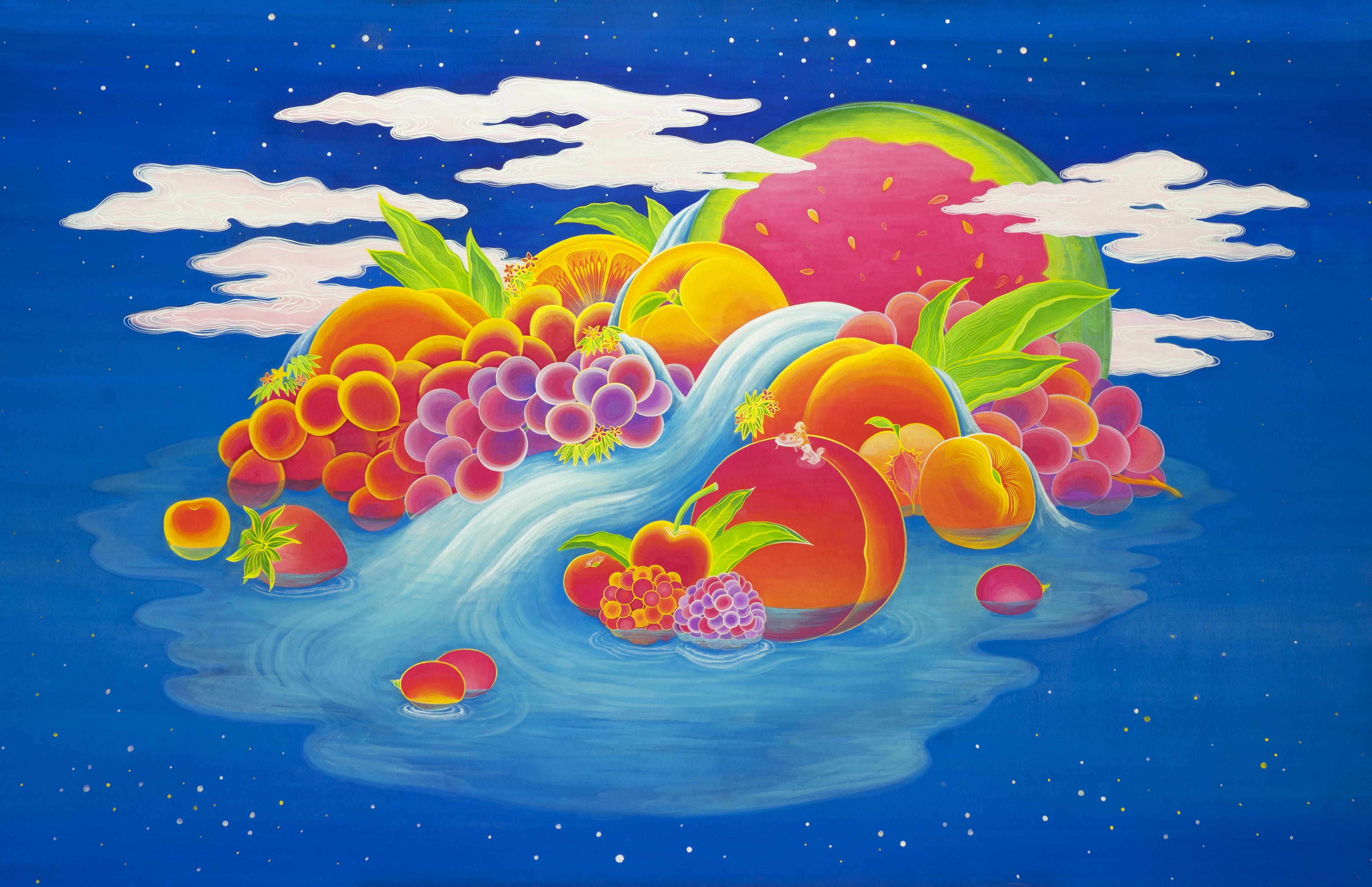 [작품5]Friuits_Paradise,_100×155cm,_Korean_traditional_painting_with_Nacre(mother-
