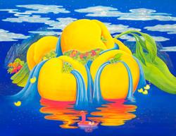 [작품6]Peach_Paradise,_68x88cm,_Korean_traditional_painting_with_Nacre(mother-of-p