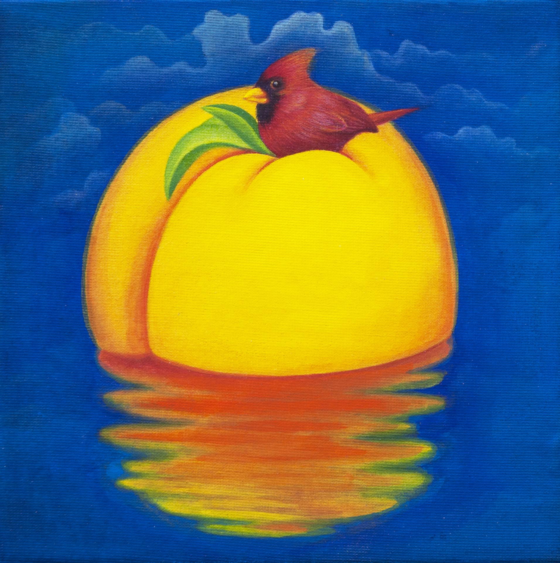 [작품10]Peach ParadiseⅠ, 13x13cm, korean traditional silk painting, 2015.jpg