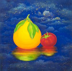 [작품11]Fruits_Paradise,_50x50cm,_Korean_traditional_painting_with_Nacre(mother-of