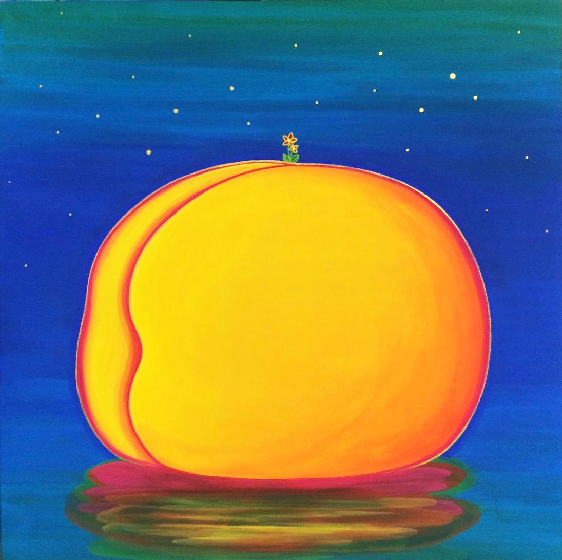 Peach Paradise-island, 33x33cm, 비단에 채색, 2015