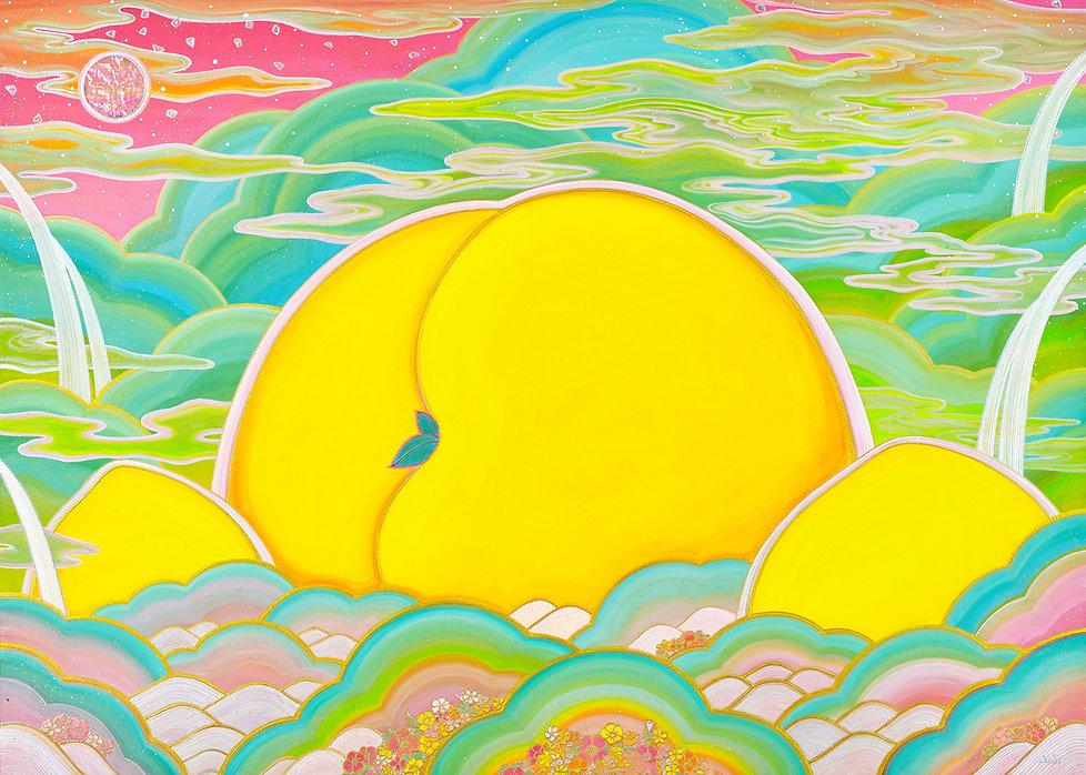 김현주 53890(피치파라다이스-꽃 빛,65.1x90.9cm,비단에 채색.jpg