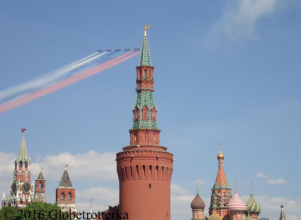 Fin du défilé aérien lors de la célébration de la victoire, 9 mai 2016, Moscou. © 2016 Globetrotterka