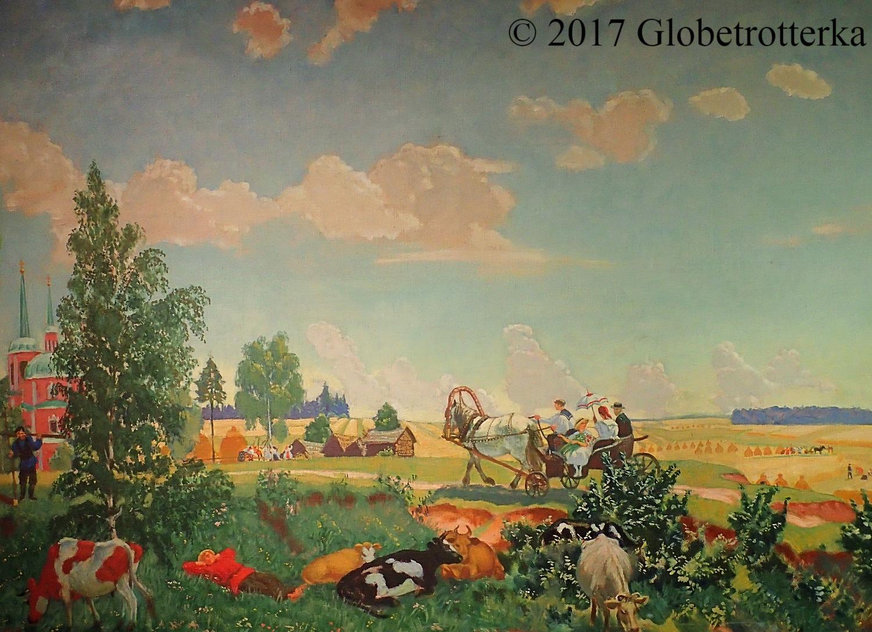 """Boris Koustodiev, Lété (voyage à Terem), 1918, Section """"les mythes du peuple"""", exposition Nekto 1917, nouvelle galerie Tretiakov, parc Muzéon, Moscou © 2017 Globetrotterka"""