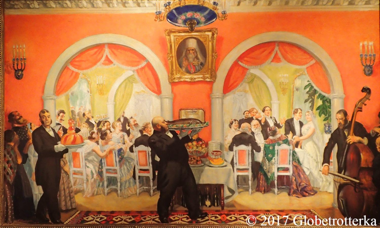 "Boris Kustodiev, Le festin du mariage, 1917, Section ""Epilogue"", exposition Nekto 1917, nouvelle galerie Tretiakov, parc Muzéon, Moscou © 2017 Globetrotterka"