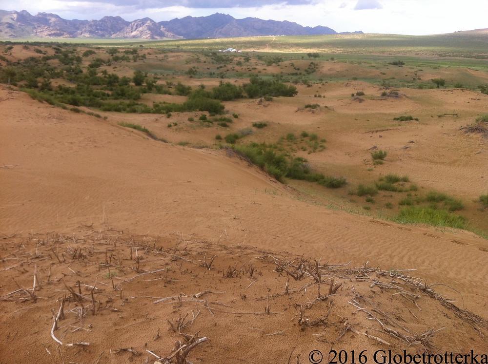 Trois des paysages du Gobi : dunes de sable, steppes en second  plan, chaîne de montagne en arrière plan © 2016 Globetrotterka