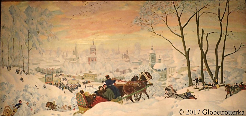 "Boris Kustodiev, Maslenitsa, 1926, Section ""Epilogue"", exposition Nekto 1917, nouvelle galerie Tretiakov, parc Muzéon, Moscou © 2017 Globetrotterka"
