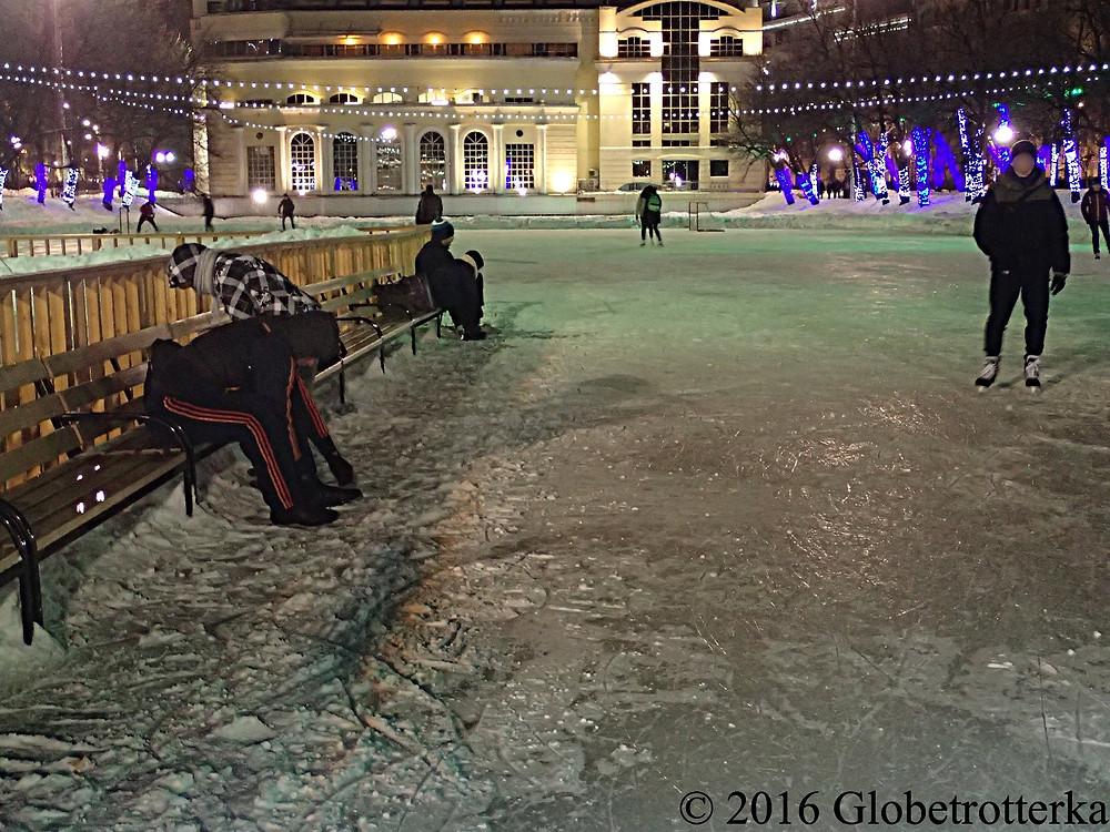 Les étangs Chistiye Proudi transformés en patinoire en hiver © 2016 Globetrotterka