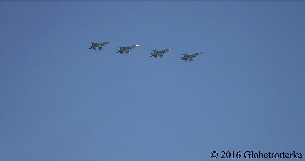 Avions de chasse de l'armée russe lors du défilé du 9 mai 2016