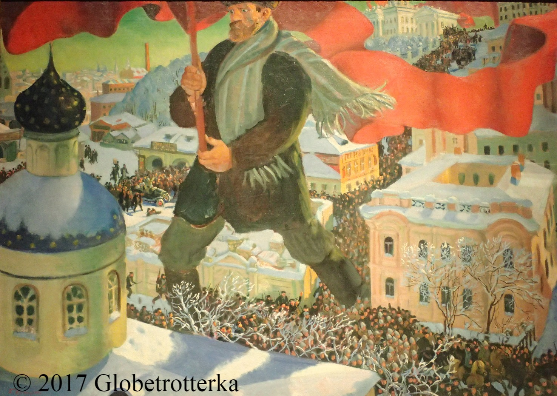 "Boris Kustodiev, Bolchevik, 1920, Section ""Epilogue"", exposition Nekto 1917, nouvelle galerie Tretiakov, parc Muzéon, Moscou © 2017 Globetrotterka"