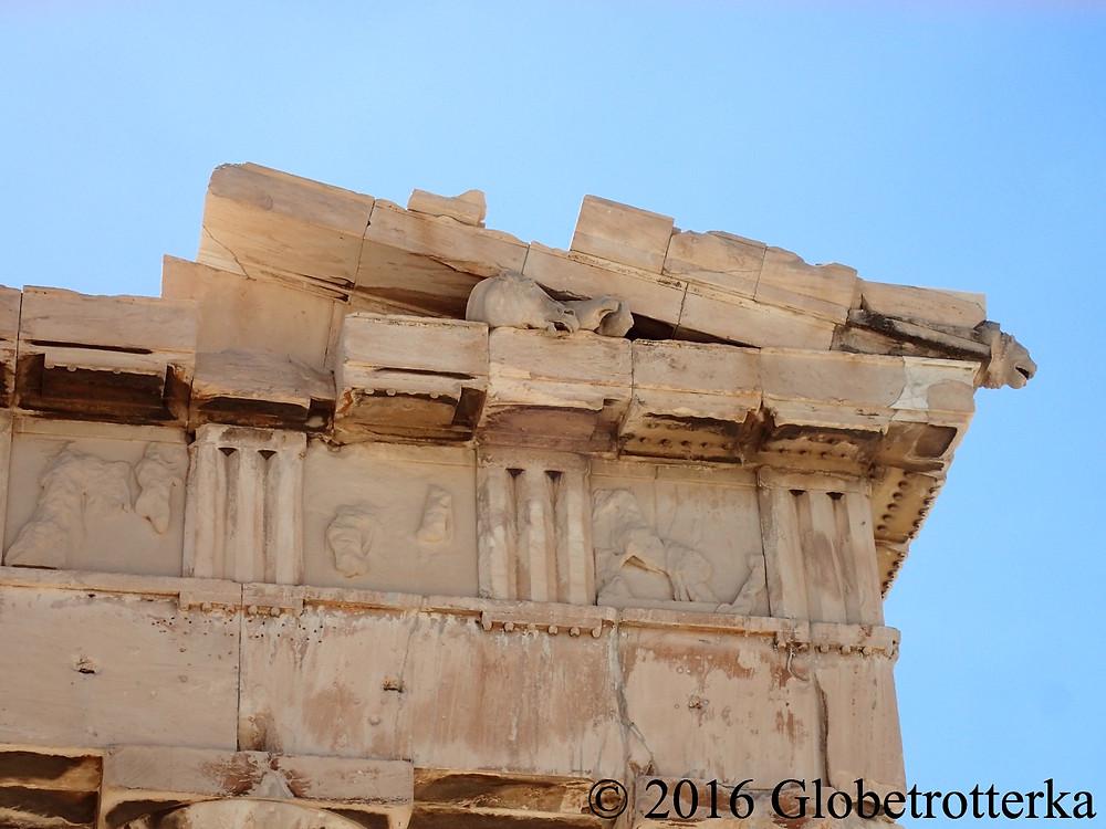 Détails de la façade est du Parthénon