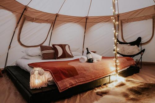 Glamping king bed