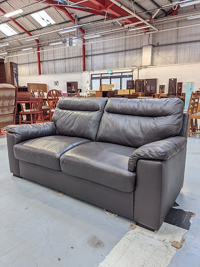 Dark Brown 2 Seat Leather Sofa