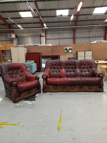 Red Leather 3 Seater + Armchair