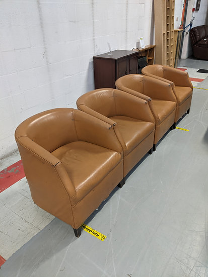 4 X Tan Leather Tub Chairs