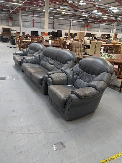 Grey Faux Leather 3 Piece Suite
