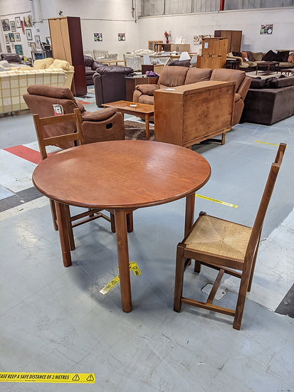 Round Wooden Table And 2 Chairs