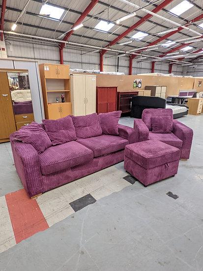 Purple Fabric  2 Seat Sofa + Armchair + Foot Stool