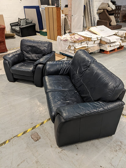 2 Seater Blue Leather Sofa and Chair