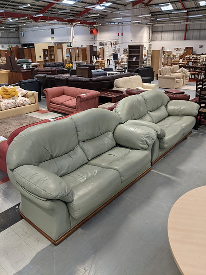 2 X 2 Faux Green Leather Sofas