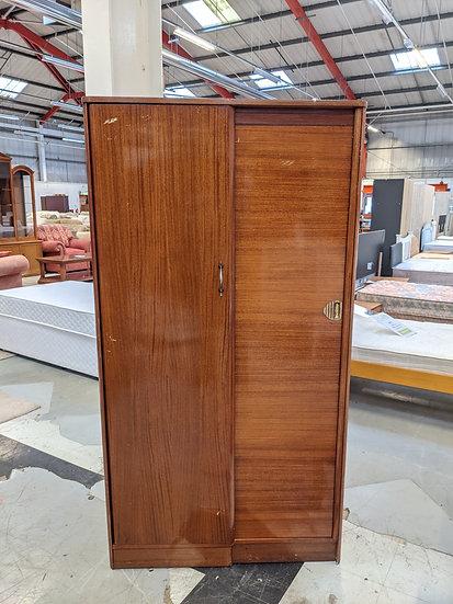 Vintage Brown Wooden 2 Door Wardrobe