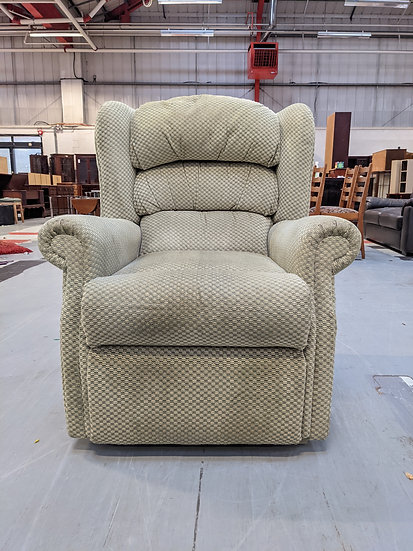 Green Patterned Fabric Single Arm Chair
