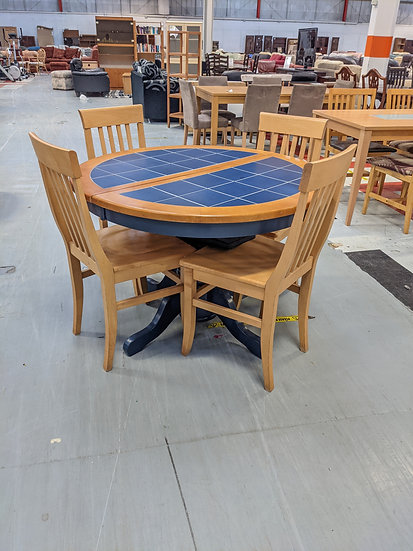 Blue Tiled Extendable Dining Table And 4 Chairs
