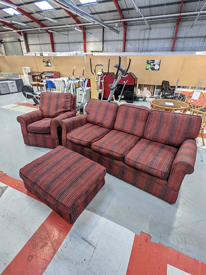 Black And Red Stripe 3 Piece Suite