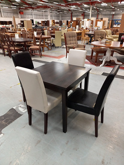 Wood Effect Table + 4 Faux Leather Chairs