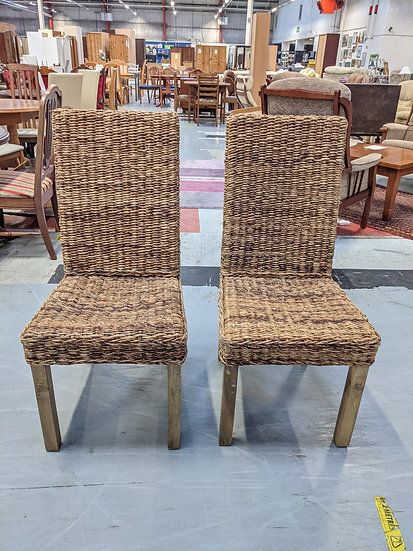 2 Natural Material Dining Chairs