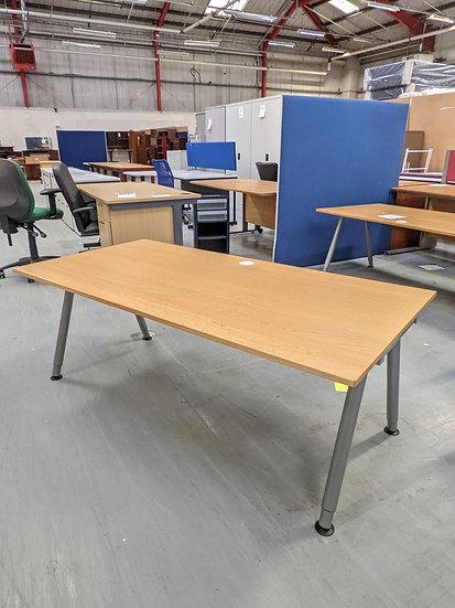 Wooden Desk With Metal Adjustable Legs