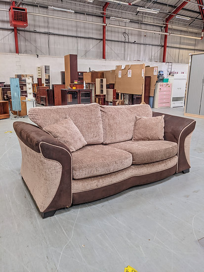 Dark / Light Brown Fabric 2 Seater Sofa Bed
