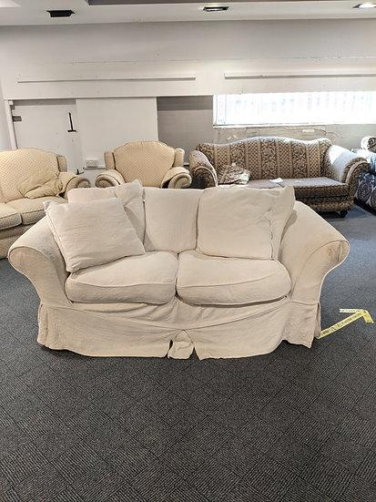 White 2 Seater Fabric Sofa