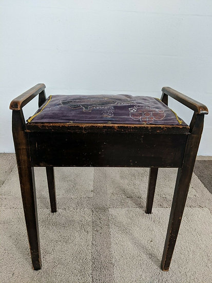 Antique Vintage Piano Stool With Map of Cyprus