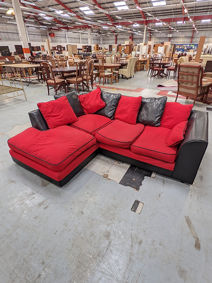 Black & Red Corner Sofa