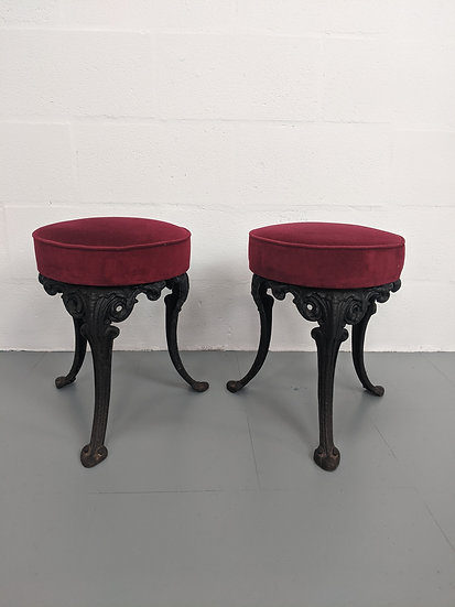 2 Contemporary Stools with Cast Iron Legs