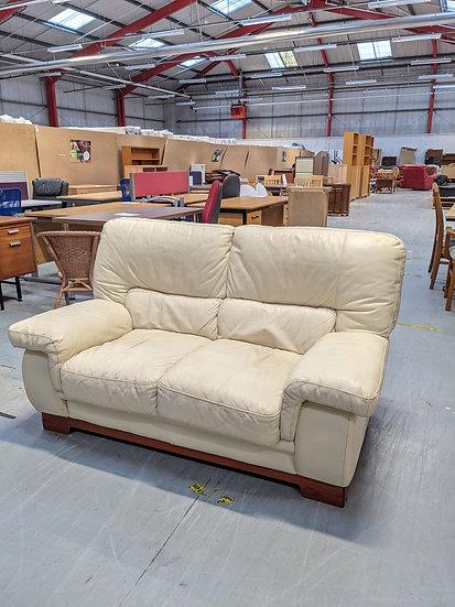 Cream Leather 2 Seat Sofa