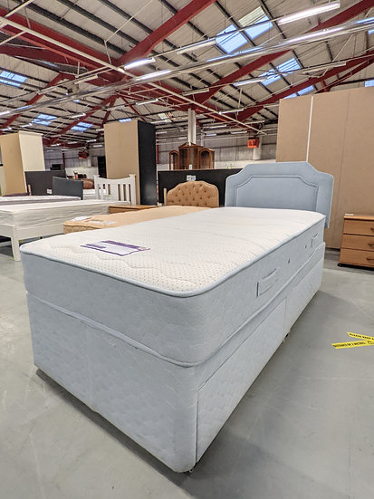 Sleep Masters White And Light Blue Complete Single Bed With Memory Foam Mattress