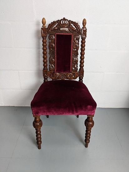 Vintage Wooden Red Velvet Chair