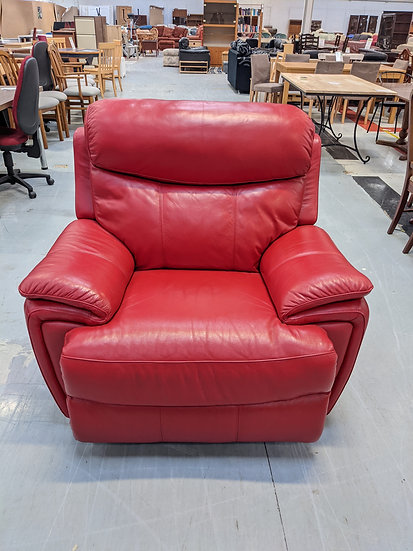 Red Leather Electric Reclining Armchair