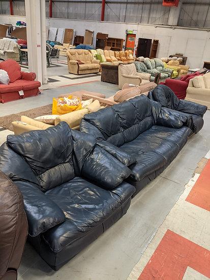 3 Piece Blue Faux Leather Sofa