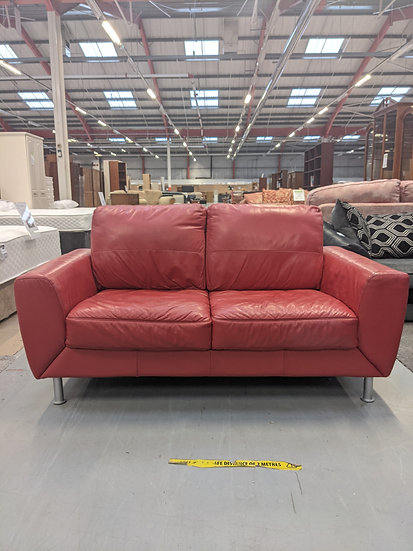Red 2 Seat Leather Sofa